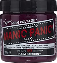 Manic Panic Plum Passion Purple Hair Color Cream - Classic High Voltage Semi-Permanent Hair Dye - Vivid, Purple Shade - For Dark, Light Hair - Vegan, PPD & Ammonia-Free - Ready-to-Use, N-Mix Coloring