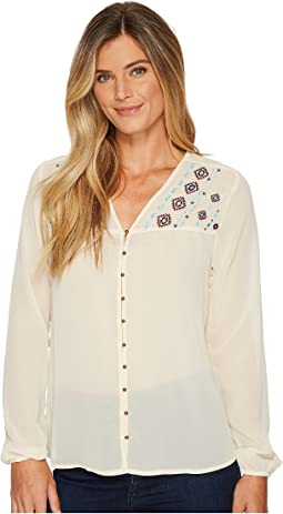 Cruel - Long Sleeve Poly Chiffon Peasant Blouse