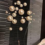 Blanco Daimay Declaraci/ón Perla simulada Grande Gargantilla de Cristal Perlas sint/éticas para Mujer Juego de Joyas aretes Collar 19 Collar Babero Turquesa Cuentas Redondas para Novias Boda Fiesta