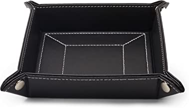 Black Leatherette Mens Valet Tray Catchall and Storage Organizer Gift Boxed