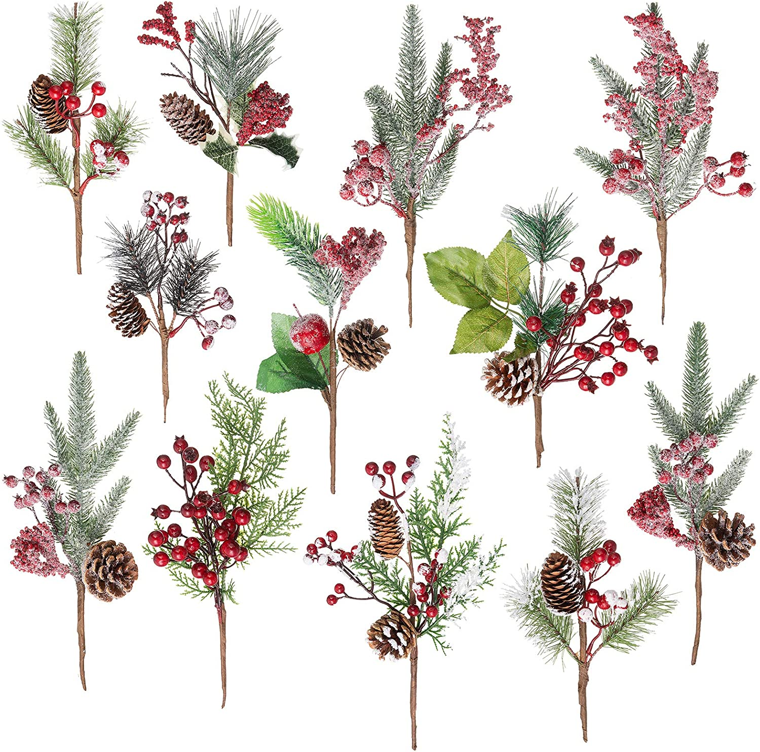 Snowy pine flower picks with pinecones to decorate your Christmas tree!