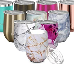 Stainless Steel Stemless Wine Glass - THILY Triple Vacuum Insulated Tumbler Travel Cute Cup with Lid, Reusable Straw, Keep Cold & Hot for Wine, Coffee, Birthday Bride Xmas Gift, Gold Marble