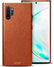 Olixar for Samsung Galaxy Note 10 Plus 5G Genuine Leather Case - Back Protective Cover - Premium Slim Design - Wireless Charging Compatible - Camel Brown - (Compatible with Note 10 Plus)
