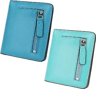 AINIMOER Women Leather Wallet RFID Blocking Small Mini Bifold Zipper Pocket Card Case Sky Blue and Sea Blue