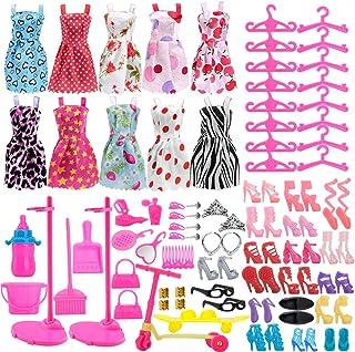 Asiv 110 Piezas Ropa de Moda, Zapatos y Accesorios para Las muñecas Doll, Incluyendo 10 los Vestidos, 14 Zapatos, 16 suspensión, 2 Soporte de la muñeca, 68 los Accesorios
