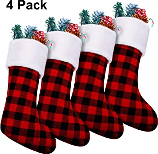 4 Pieces 18 Inch Christmas Stockings Red and Black Plaid Stocking Faux Fur Cuff Stocking Fireplace Hanging Stockings for Family Holiday Xmas Party Decorations