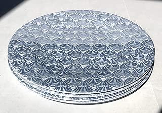"Tommy Bahama 100% Melamine Set of 4 Dinner Plates (11"" Diameter) DIFFERENT SHADES OF BLUE SEASHELLS"