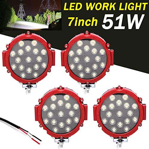 new arrival 4Pcs Round LED Work Lights 7 2021 Inch 51w Waterproof Off road Pod wholesale Headlight Driving Roof Bar Bumper for Truck SUV ATV Boat 4x4 Jeep Lamp sale