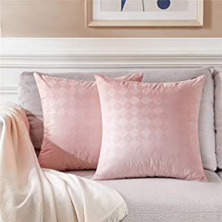 Topfinel Decorative Throw Pillow Covers 16 x 16 inch for Couch Bed Car Soft Solid Diamond Embossed Velvet Cushion Cover 40 x 40 cm for Holiday Party Home Decor, Pack of 2, Pink
