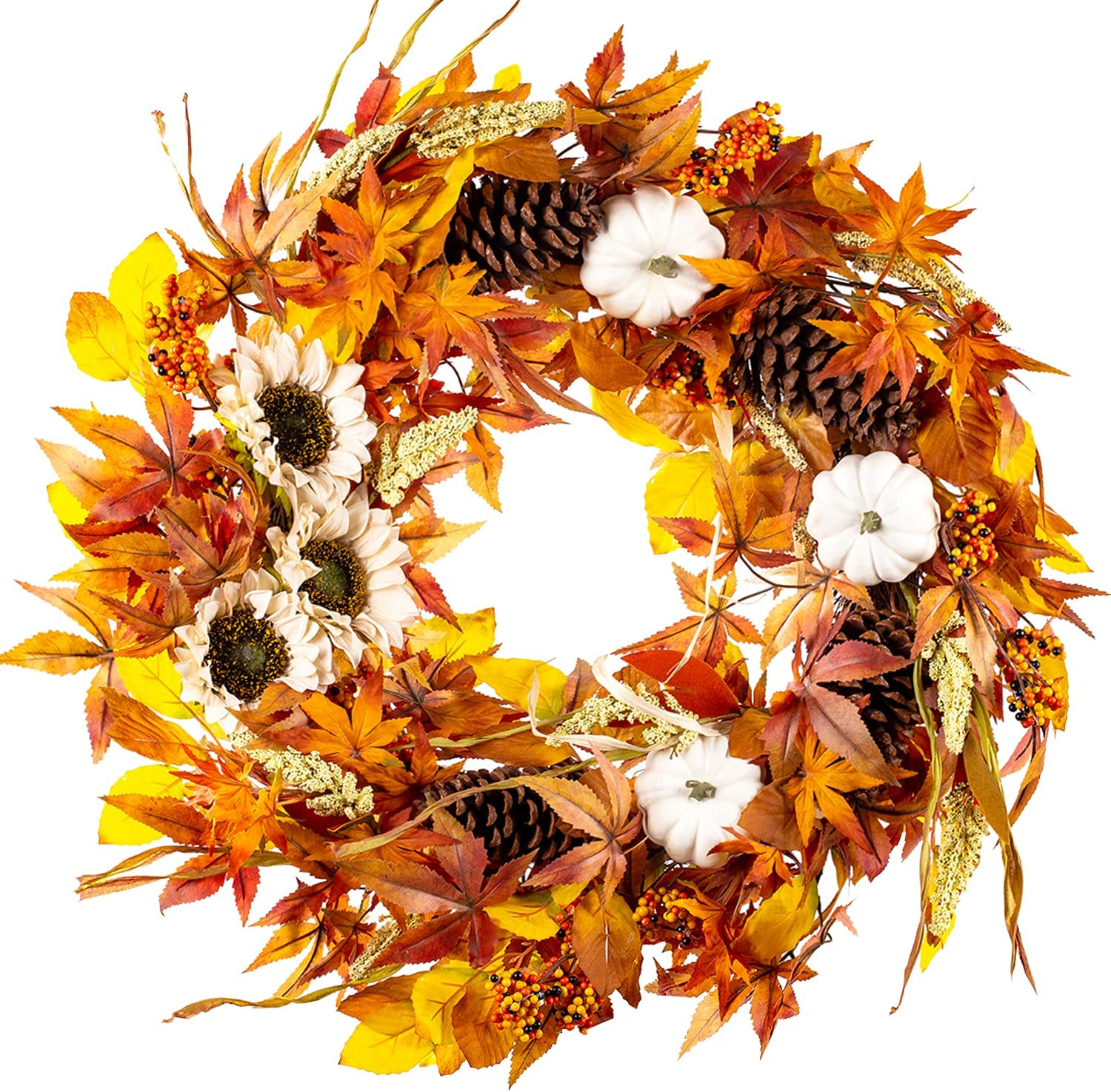 National uniform free shipping WANNA-CUL 24 Inch Fall Wreath Decoration for Door Some reservation with Whi Front