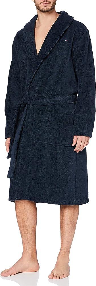 Tommy hilfiger icon bathrobe, accappatoio per uomo,100% spugna di cotone 2S87905539