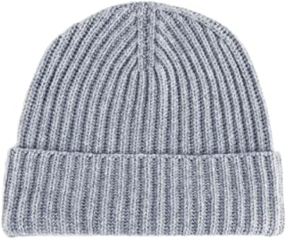 Love Cashmere Women's Ribbed 100% Cashmere Beanie Hat - Light Gray - Made in Scotland RRP $180