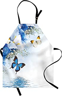 Ambesonne Floral Apron, Blue and White Wild Flowers with Monarch Butterflies Lily Therapy Spa Art Prints, Unisex Kitchen Bib with Adjustable Neck for Cooking Gardening, Adult Size, Purple Blue