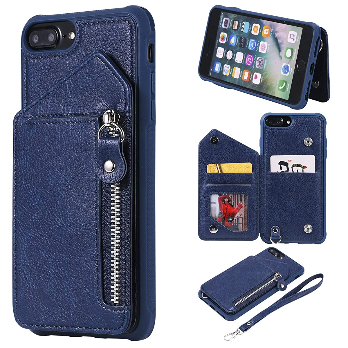 Tznzxm iPhone 8 Plus Case, iPhone 7 Plus Case, PU Leather Flip Zipper Wallet with Card Slot Magnetic Purse Wrist Protective Anti-Scratch Shock Absorption Kickstand Case for iPhone 7 Plus /8 Plus Blue