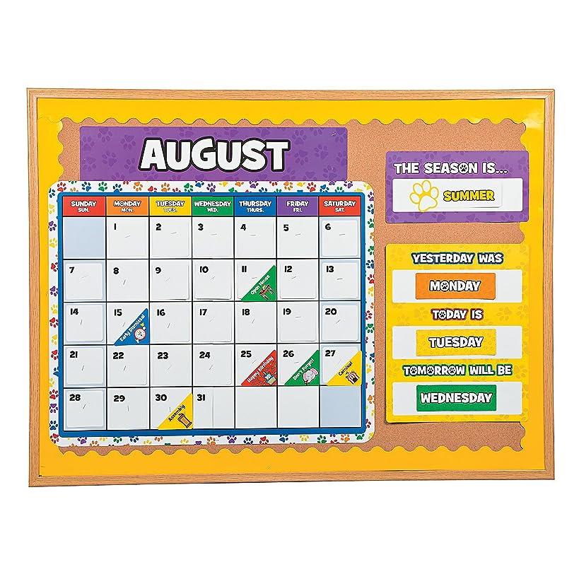 Fun Express - Paw Print Bulletin Board Calendar - Educational - Classroom Decorations - Classroom Decor - 11 Pieces