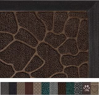 Gorilla Grip Original Durable Rubber Door Mat, 29x17, Heavy Duty Doormat, Indoor Outdoor, Waterproof, Easy Clean, Low-Profile Mats for Winter Snow, Entry, Patio, High Traffic Areas, Dark Brown Pebble