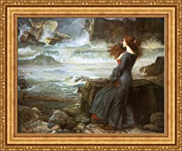 FOREVER John William Waterhouse Miranda The Tempest Framed Canvas Giclee Print - Finished Size (W) 34.1'' x (H) 28.1'' [Gold] (V04-15K-MD535-01)
