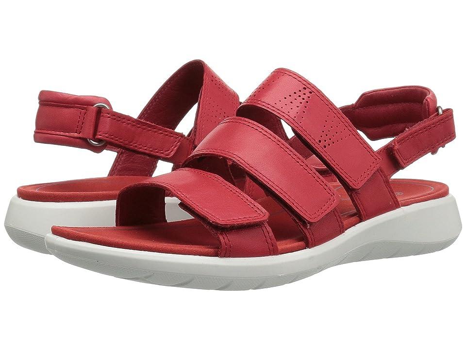 ECCO Soft 5 3-Strap Sandal (Tomato Cow Leather/Cow Nubuck) Women