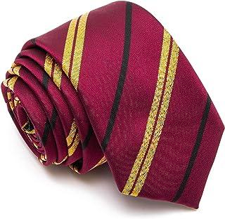 ربطة عنق مخططة بلون كستنائي لامعة للزي المدرسي أو الحفلات التنكرية