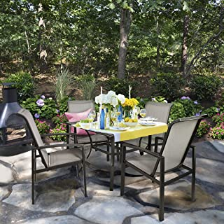 Barton 5-Piece Outdoor Dining Set Square Patio 1 Table Mesh Dining 4 Chairs Yard Patio Furniture Garden UV-Resistant