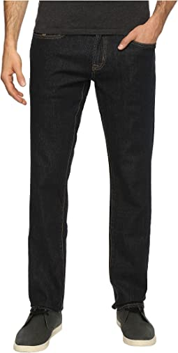 Slim Straight Stretch Denim Five-Pocket Jeans in Blue