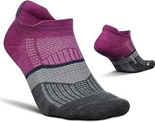 Feetures Merino 10 Ultra Light No Show Tab Stripe— Wool Hiking & Running Socks for Men & Women, Targeted Compression