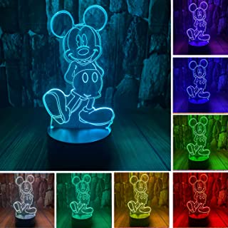 Mickey Mouse Minnie Mice Mouse Toys 3D LED Acrylic Night Light with Remote & Smart Touch 16 Colors Changing Dimmable USB P...
