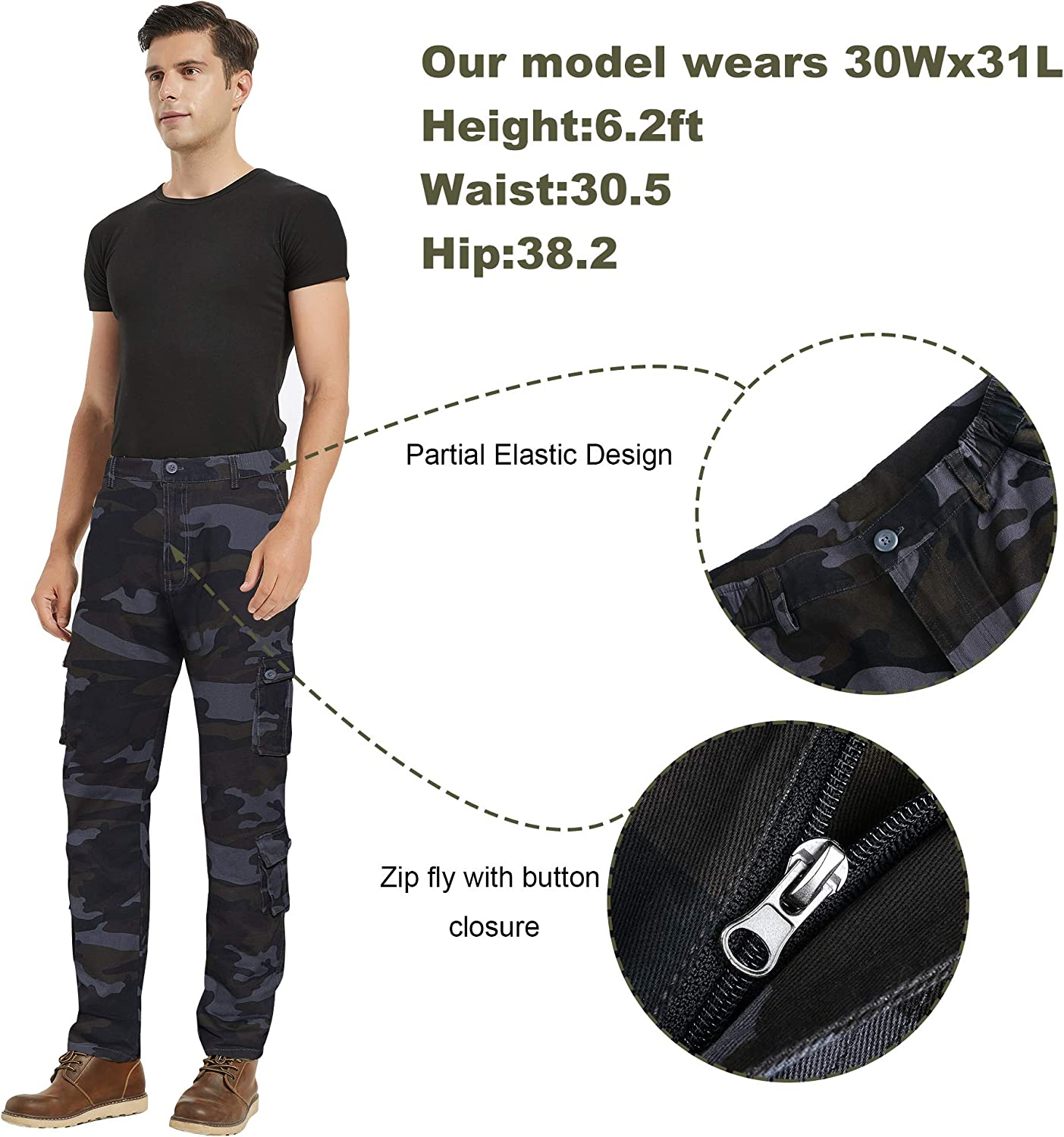 APTRO Mens Cargo Pants Relaxed Fit Multi-Pockets Work Pants Outdoor Casual Pants with Partial Elastic Waist