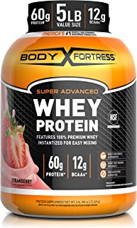 Body Fortress Whey Protein Powder 5 lb, Strawberry