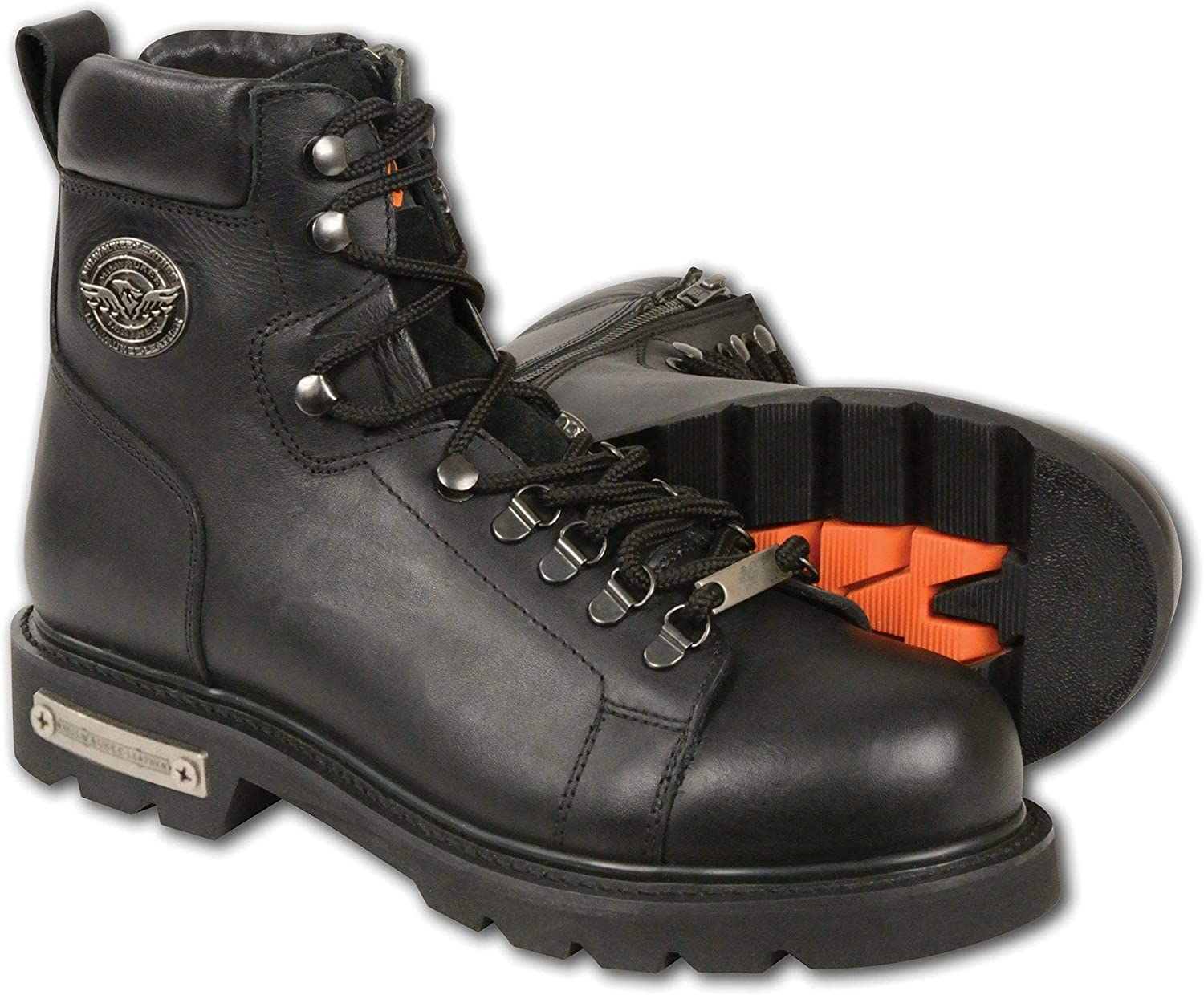 Milwaukee Leather MBM100 Men's Limited Special Price Black Lace-Up discount Boots Side Zip with