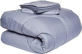 Luxury 2724317134842 Self-Striped 4-Piece Comforter Set, Cotton, King, Grey, H42 x W56.6 x D30.6 cm