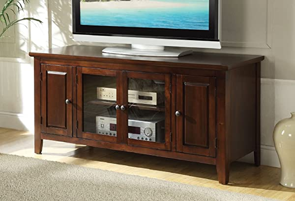 Major Q 9010346 Transitional Contemporary Style Chocolate Finish Rectangular Wooden Top And Frame TV Stand