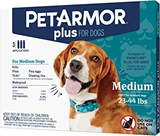 PETARMOR Plus for Dogs Flea and Tick Prevention for Medium Dogs (23-44 Pounds), Long-Lasting & Fast-Acting Topical Dog Flea Treatment