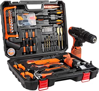 LETTON Tool Kit Set with Drill 16.8V Cordless, Household Hand Tool Set for Home Repair with Storage Case