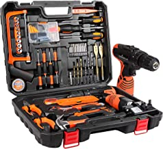 LETTON Tool Kit with Cordless Drill, 60 Pieces Household Repair Box DIY Combo Kit with 2 Li-ion Batteries, 16.8V Power Too...