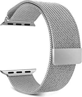 M7 Compatible Watch Band, Milans Loop Stainless Steel Magnetic Metal Strap, Magnet Lock for iwatch Series 1/2/3/4/5 (40 mm, Silver)
