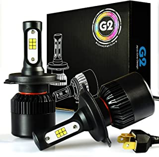 JDM ASTAR G2 8000 Lumens Extremely Bright CSP Chips H4 9003 All-in-One LED Headlight Bulbs Conversion Kit, Xenon White