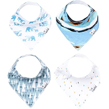 """Baby Bandana Drool Bibs for Drooling and Teething 4 Pack Gift Set for Girls or Boys """"Arctic Set"""" by Copper Pearl"""
