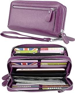YALUXE Women's RFID Blocking Security Double Zipper Large Smartphone Wristlet Leather Wallet Purple