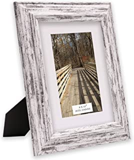 TERESA'S COLLECTIONS Picture Frame 8x10 inch Without Mat or 5x7 with Mat, Handmade Rustic Distressed Design Shabby Chic Photo Poster Frame for Tabletop,Wedding,Home,Wall Decorations (Village)