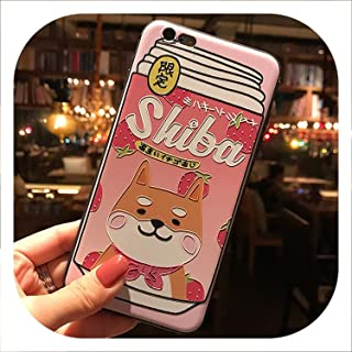Japanese Cute Shiba Inu Drink Phone Case for iPhone Xs MAX XR Capa Coque Soft TPU Back Cover for iPhone X 8 7 6S 6 Plus Case-in Half,2,for iPhone 6s Plus