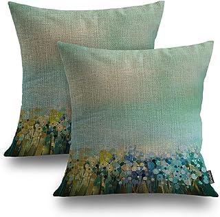 Shrahala Plant Flower Decorative Pillow Covers, Cornflower Blue Botanical Floral Decorative Linen Throw Pillow Covers 18 x...