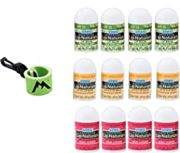 Essential Lip Naturals Mini Lip Balm Assorted Flavors12 Count   Bundle with   1 Mini Neoprene Sleeve   Lip Balm Holder with Swivel Clip by Mile High Online (13 Total Items)