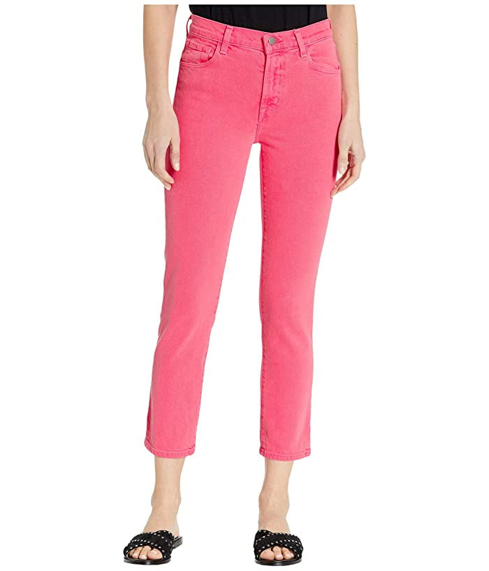 J Brand  Ruby High-Rise Crop Skinny in Pink Coral (Pink Coral) Womens Jeans
