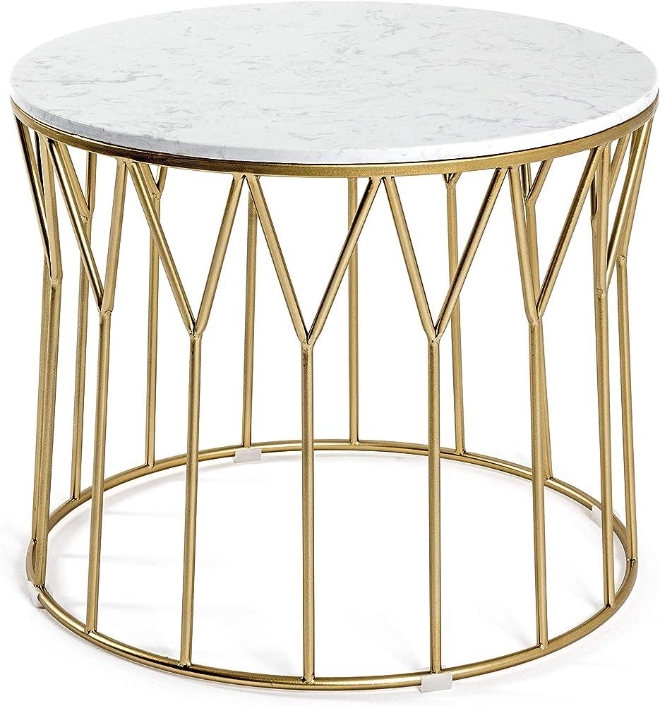 Haku möbel, tavolino basso,telaio in tubo d`acciaio verniciato in oro,ripiano in marmo 21297