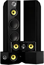Fluance Signature Series Surround Sound Home Theater 5.0 Channel Speaker System Including Three-Way Floorstanding Towers, Center Channel, and Bipolar Speakers - Black Ash (HF50BB)