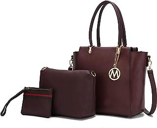 Mia K Collection 3-PC Set Schultertasche Handtasche Crossbody für Damen Handgelenk Geldbörse PU Leder Umhängetasche Pocket...