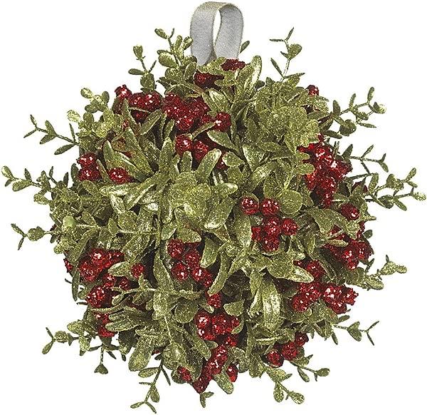 Ganz Kissing Krystal 8 Large Kissball Ornament Red Mistletoe Plastic