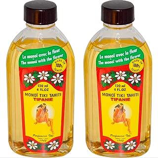 Monoi Tiki Tahiti Tipanie Frangipani Coconut Oil (Pack of 2), Scented With Fresh Handpicked Tiare Flowers, 100% Made in Tahiti, 4 fl. oz.