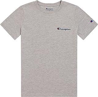 Champion Boys Short Sleeve Tee Shirt Chest Script Big and Little Boys Top (Oxford Heather, 7, Numeric_7)